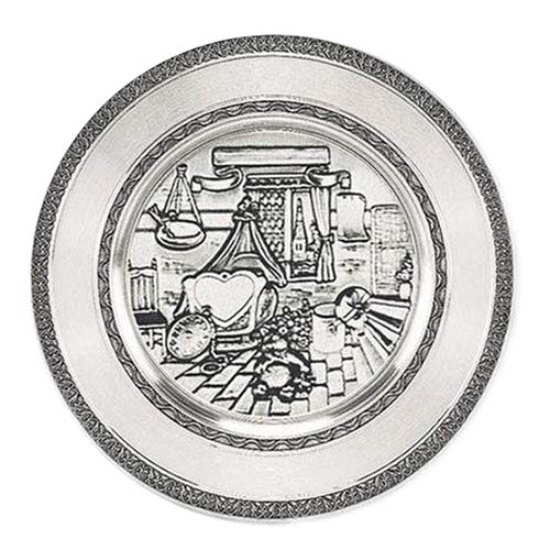 Zinnteller 24 cm Geburtsteller inkl. Gravur | Teller zur Geburt oder Taufe Zinn