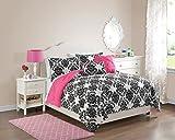 VCNY 5 Piece Olivia Reversible Comforter Set, Full/Queen, Hot Pink