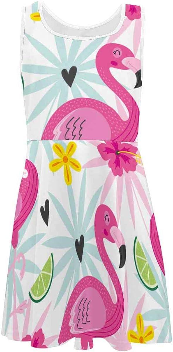 InterestPrint Girls Summer Dress Sleeveless Crew Neck Dress Pink Flamingo and Tropical Flowers (2T-XL)