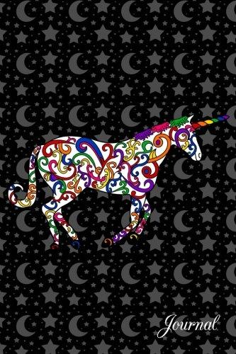 Journal: Black stars and moons rainbow swirls unicorn notebook