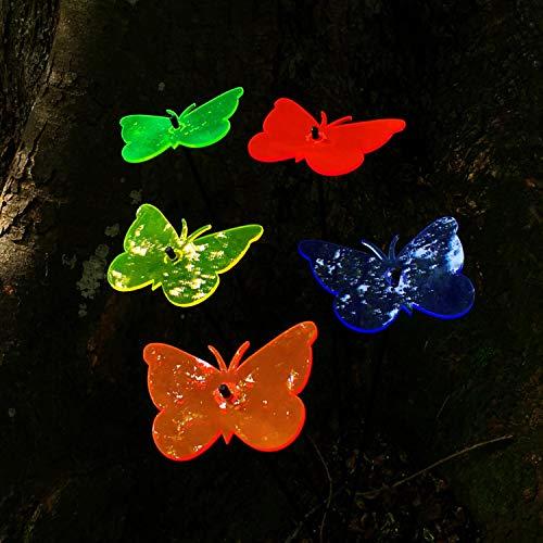 SunCatcher: zonnevanger 5-delige set 'vlinder' | fluorescerende tuindecoratie | 15 cm met 75 cm staaf | tuinsteker cadeau-idee alle Farben (5)
