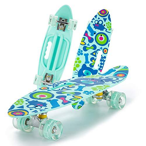 Komplette Skateboard fürMini 24-Zoll-Skateboards, die komplette Highly Flexible Plastic Cruiser Brett für Anfänger oder Profi,A1