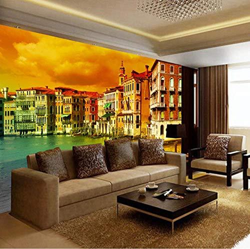 Guokaixyz fotobehang fotobehang Venetië stad landschap groot wandbehang Europese woonkamer woonkamer slaapkamer 3D vlies 180x260cm