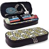 Miel naturel sans couture modèle Bio main en cuir nano imprimé crayon poche zippée stylo boîte à crayons, grande capacité papeterie boîte