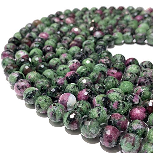 [ABCgems] Tanzania Ruby in Zoisite AKA Anyolite (Occasional Red Ruby in Beautiful Green Zoisite) 12mm Faceted Round Natural Semi-Precious Gemstone Healing Energy Beads