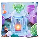 Nexos Trading LED Kissen Sofakissen mit Beleuchtung Fotodruck Laterne 38 x 38cm Zierkissen Dekokissen mit Licht Leuchtkissen Lampe Garten Kerze Landhaus samtweich