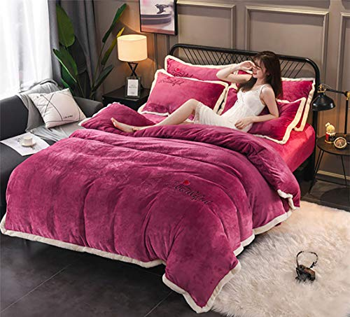 MIEMIE Bettbezüge Sets Flanell Bettwäsche Set Magie Samt Fleece 3 / 4teilig Warm Bett Schneewittchen Bettbezug Bettlaken Kissenbezüge Twin Queen King Size Doppelt