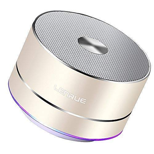 LENRUE Portable Wireless Bluetooth Speaker with Built-in-Mic, Handsfree Call, AUX Line, TF Card for iPhone IPad Android Smartphone and More, Gold A2
