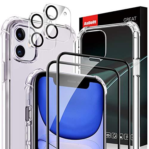 AsBellt für iPhone 11 Panzerglas Schutzfolie+Kamera Panzerglas+Hülle(2+2+1 Stück), [3D Runde Kante], Mit Positionierhilfe, Displayfolie für iPhone 11