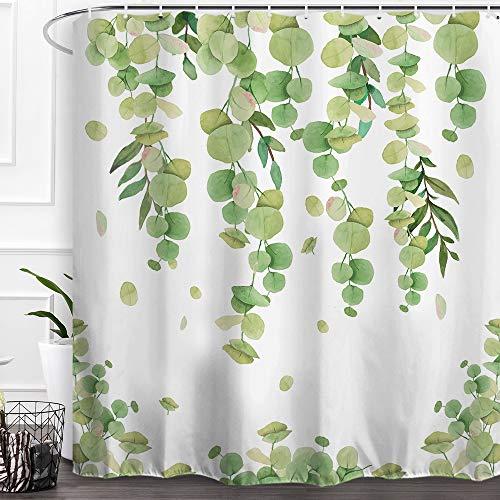 Baccessor Home Badezimmer Dekorativer Polyesterstoff bedruckter Duschvorhang mit Haken, wasserdicht, beschwerter Unterseite 72