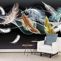 HGFHGD 自己粘着性の3D壁画壁紙ホワイトゴールドフェザー壁画抽象的な煙寝室テレビ背景写真ウォールステッカー