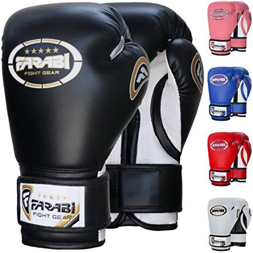 Farabi Guantoni da boxe junior per bambini Muay Thai Kickboxing Sparring Punching Bag Guanti da allenamento (Balck, 8-oz)