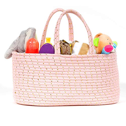 Baby Rope Diaper Caddy Organizer - Premium Large Hand Woven Pink Rope Organizer with Gold Accents. Great Storage Organization Basket for Newborn Diapers. Great Nursery Decor or Portable Baby Bag.