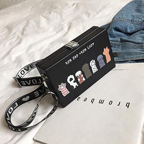 Frauentasche Koreanische Süße Tasche Cartoon Mädchen Umhängetasche Weibliche Kette Schulter Handtasche Umhängetasche Box Form Schwarz