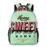 AMIGGOO Mochila informal ,Firmar Vintage Home Sweet Retro House diciend, Mochila de viaje con cremallera , Para negocios, escuela, trabajo, portátil Mochila 16 'X11.5 X8