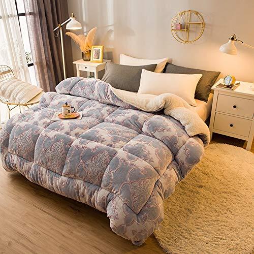 BAIHAO Winter Cashmere Fabric Quilt, Quilt Cashmere Warm Moisture/gas-permeable Down Quilts Single Double Thick Warm Plush - Plus Velvet Core Quilt Winter Quilt