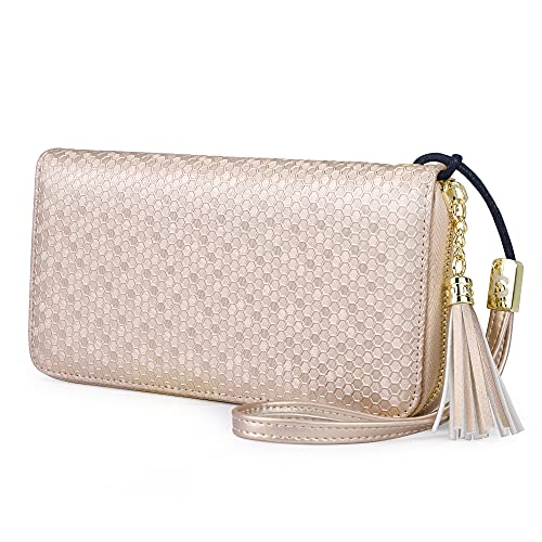 Pomelo Best Damen Geldbörse Groß Portemonnaie mit Münzfach, Handyfach und Handschlaufe Wabenpräge-Serie (Champagner rosa)
