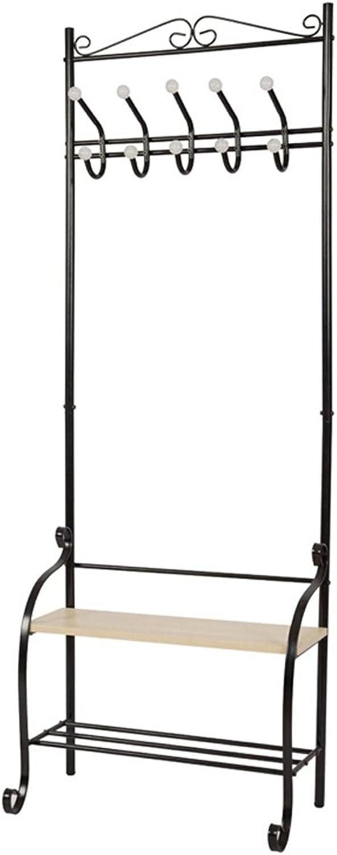 shoes Rack Coat Rack Metal Material Modern Minimalist Style Hall Shelf Multi-Purpose Simple Storage Rack Black White (63  33  175CM)