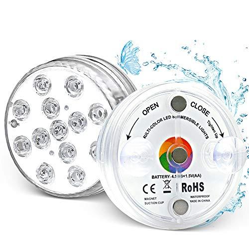 Unterwasser Licht, 2 Pcs RGB Farbwechsel 13 LED Unterwasserleuchten Poolbeleuchtung mit Fernbedienung, Timer, IP68 Wasserdichte Teichbeleuchtung für Garten, Party, Weihnachten, Halloween, Schwimmbad