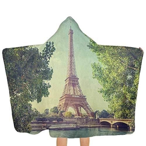 ZHSL Serviettes de bain bébé Tour Eiffel Seine Photo France repère européen Image Serviette de bain 100% coton avec capuche Convient comme cadeaux pour bébé Vert amande Vert brun pâle 51,5 x 31,8 pouc