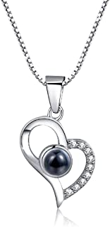 OneSight Women Love Heart Projection Necklace Jewelry, 925 Sterling Silver Memory of Love Necklace- 100 Different Languages for i Love u