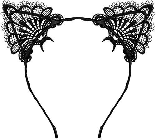 Balinco Katzenohren Haarreif Cat Ears mit reizvollen Spitzen und leichten Metallrahmen für Damen / Frauen und Mädchen zum Karneval / Fasching & Halloween