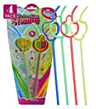 Izzy 'n' Dizzy Hanukkah Straws - Hanukkah Paper Goods - Dreidel Shaped - 4 Pack