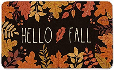 Thanksgiving Mats Hello Fall Area Rug 18 × 30 Inches Autumn Marple Leaves Doormats Anti-Slip Decorative Holiday Floor Mat for Kitchen, Bathroom, Bedroom, Living Room, Indoor Outdoor