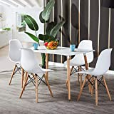 H J WeDoo Dining Table and Chairs Set of Rectangular Dining Table and 4 White Nordic Chairs with Beech Legs for Office Lounge Dining Kitchen