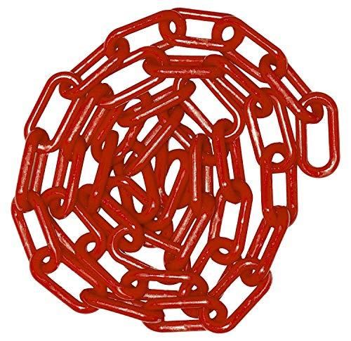 Cadena de advertencia, cadena de advertencia de plástico con 2 ganchos de plástico para el control de multitudes, tráfico, línea de cola (rojo, 6 mm x 5 m)