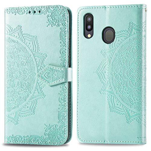 Bear Village Hülle für Galaxy M20, PU Lederhülle Handyhülle für Samsung Galaxy M20, Brieftasche Kratzfestes Magnet Handytasche mit Kartenfach, Grün