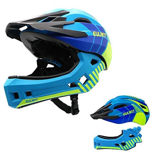 EULANT Aktualisierter Fullface-Helm für Kinder, Kinderhelm mit Kinnschutz, Fahrradhelm für Mädchen und Jungen im Alter von 2-10 Jahren, passt Kopfgröße 48-56,Blau M
