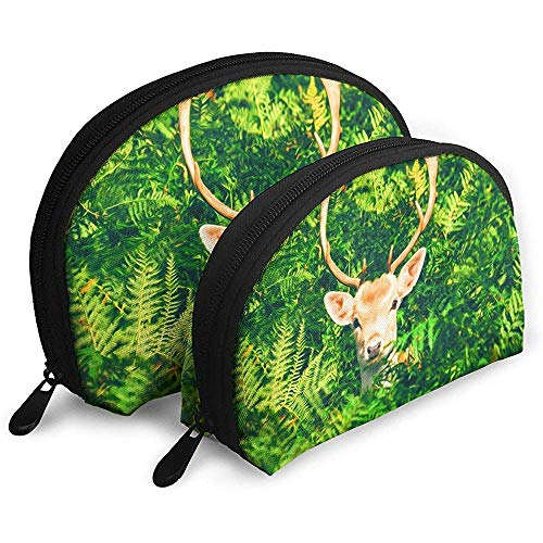 Deer in The Bush Bolsas portátiles Bolsa de Maquillaje Bolsa de artículos de tocador, Bolsas de Viaje portátiles multifunción Pequeña Bolsa de Embrague de Maquillaje con Cremallera