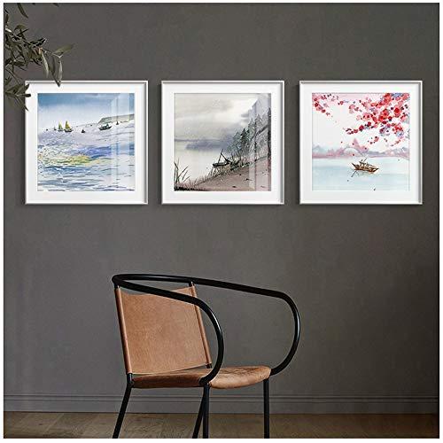 ZHANGSHAIFFBH Moderne seizoenen Landschap Canvas Schilderij Posters Muurkunst Foto's Voor Woonkamer Slaapkamer Decor-50x50cm Geen Frame