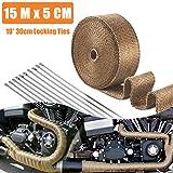 15M x 5 CM Hitzeschutzband Basaltfaser, Titanium Farbe Auspuffband mit 10 Edelstahl Kabelbinder für Fächerkrümmer Thermoband Krümmerband Auto Motorrad Auspuff (Titanium)
