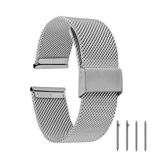 EONPOW Cinturino per Orologio Donna Uomo Cinturino in Acciaio Inossidabile 18mm