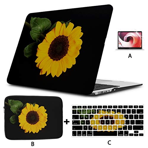 MacBook Air 13 Accessories Sunflower Yellow Black Flower MacBook Pro A1989 Case Hard Shell Mac Air 11'/13' Pro 13'/15'/16' with Notebook Sleeve Bag for MacBook 2008-2020 Version