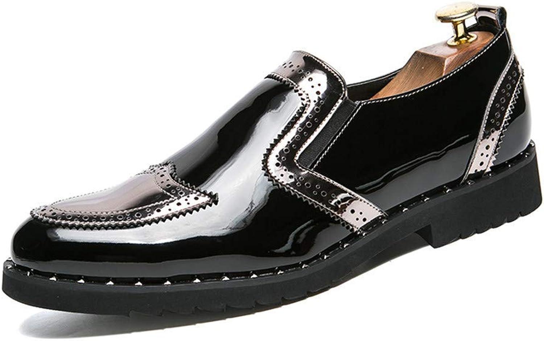 FuweiEncore 2018 Men's Business Oxford shoes, Casual Fashion Classic Vintage Patchwork Patent Leather Formal shoes (color  Silver, Size  46 EU) (color   Silver, Size   47 EU)