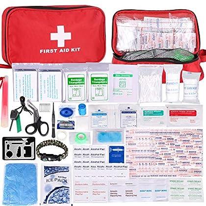 Botiquín de Primeros Auxilios de 200 Piezas,con Hielo, Manta de Emergencia,Máscara de RCP, Survival Tools Kit Bolsa…