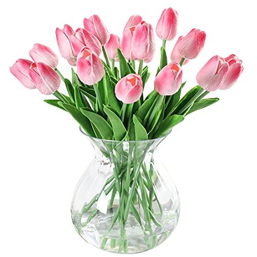 JUSTOYOU 10 STK PU Real Touch Latex Künstliche Tulpen Gefälschte Tulpen Blumen Blumensträuße Blumen Arrangement für Home Room Hochzeitsstrauß Party Herzstück Dekor Rosa