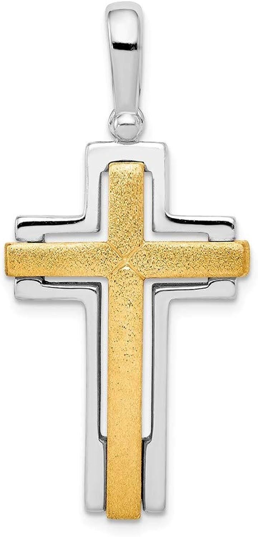 Sterling Silber rhodiniert & & & Goldfarbene Brshd poliert Kreuz Anhänger B06ZZ124GB 7b94cc