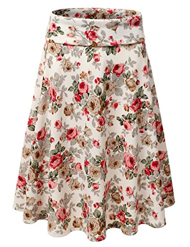 Doublju Elastic High Waist A-Line Flared Midi Skirt (Made In USA / Plus size available) IVORYROSE SMALL