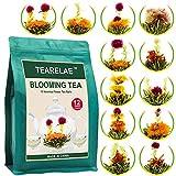 TEARELAE Blooming Tea Flowers - 12pcs Individually Sealed Flowering Tea Balls - Hand-Tied Natural Green Tea Leaves & Edible Flowers - Gifts For Tea Lovers