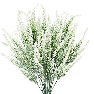 TENCHY Artificial Lavender Fake Flowers, 6 Bundles White Lifelike Faux Foliage Plants Shrubs for Wedding Bouquets, Outside Hanging Planter, Farmhouse Indoor Outdoor Patio Home Decor
