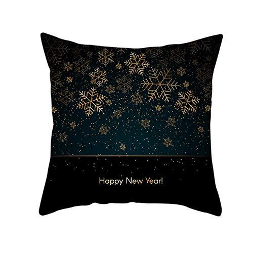 ANAZOZ 1 Funda Cojin 45 x 45,Funda Cojin Poliéster Copos de Nieve Happy New Year Negro Oro Style 1