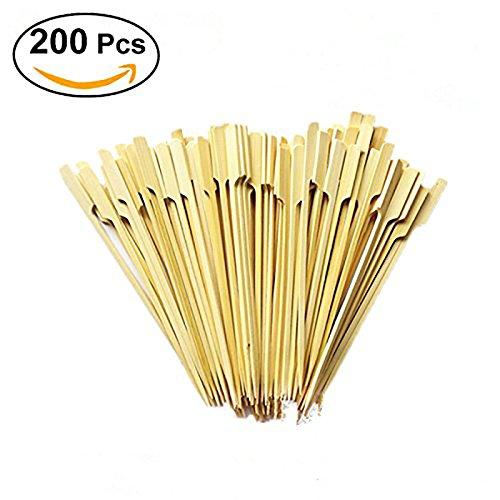 Queta Lot de 100 pics à brochettes en bambou de 20,3 cm par sac, brochettes Kabob, brochettes pour barbecue en plein air