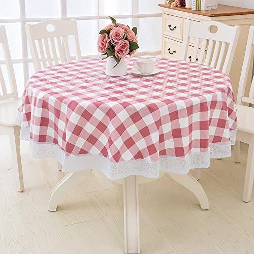 Mantel impermeable de PVC redondo, sin aceite, resistente a las manchas, adornos de encaje, mantel para mesa, protector de cubierta para mesa de centro de comedor, diámetro H 200 cm (79 pulgadas)