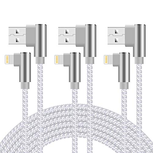 iPhone Charger Cable 10 ft 90 Degree 3 packs Lightning Cable Right Angle iPhone Fast Charging Cable Nylon Braided iPhone Charger Cord for iPhone 11 Xs Max XR X 8 Plus 7 Plus 6s Plus iPad(Silver White)