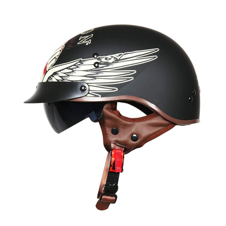 壊れたラオス人ところでヘルメット、モトクロスヘルメット、ビーチレースオフロードヘルメット、オートバイオープンフェイスハーフヘルメット付き紫外線保護ゴーグルドット認定クルーザーチョッパーヘルメットダークシュラシーズンユニセックスブラック