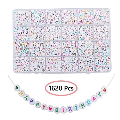 Abalorios de Plastico Alfabeto (A-Z) 1620 Piezas Cuentas Pulseras Redondas con Estuche para Almacenaje e Hilo - 6mm Abalorios Pulseras para Brazaletes, Hacer Joyas Abalorios Blancos Letras de Colores